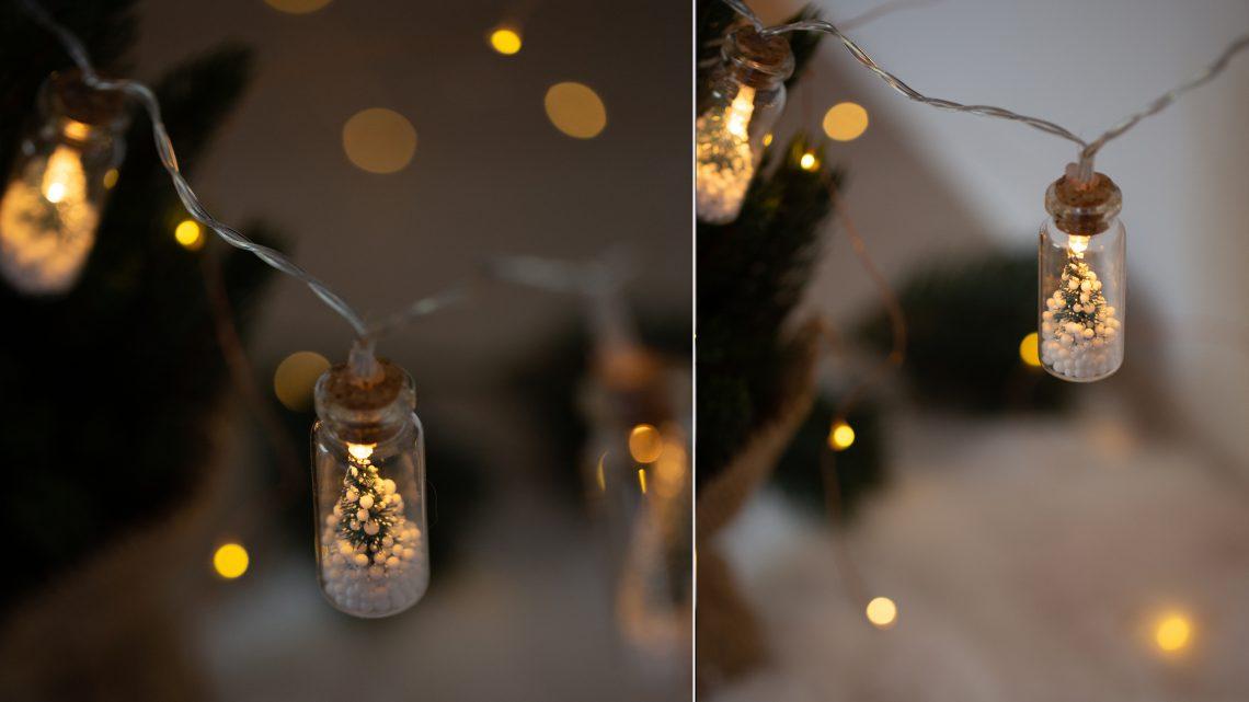 Weihnachtsdeko im Glas selber machen – DIY Lichterkette mit Tannenbäumen