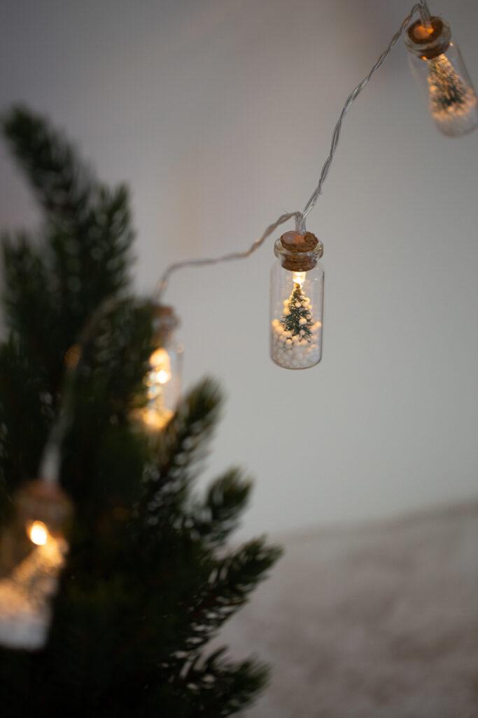 Weihnachtsdeko im Glas selber machen - DIY Lichterkette mit Tannenbäumen