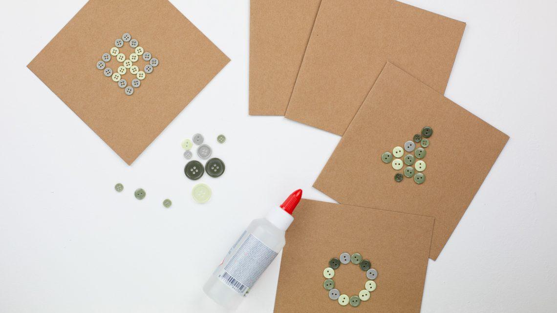 DIY Weihnachten – Karten Upcycling mit Knöpfen