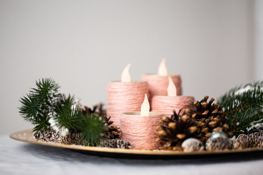Adventskranz aus Klopapierrollen basteln - DIY Weihnachten