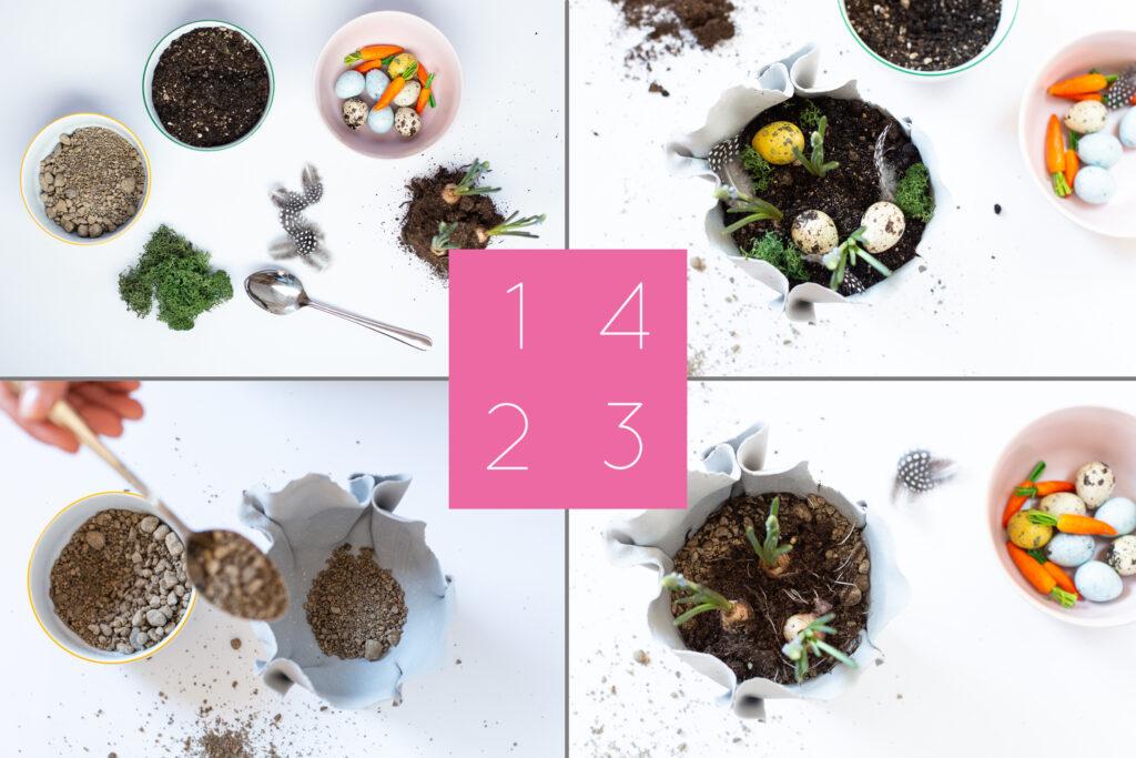 Frühlingsdeko basteln - DIY Pflanzschale für Hyazinthen