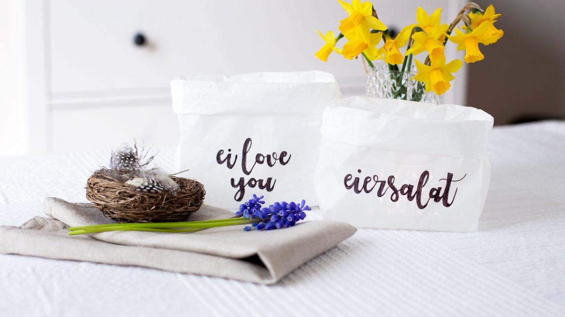 Brottüten Windlichter mit Lettering zu Ostern