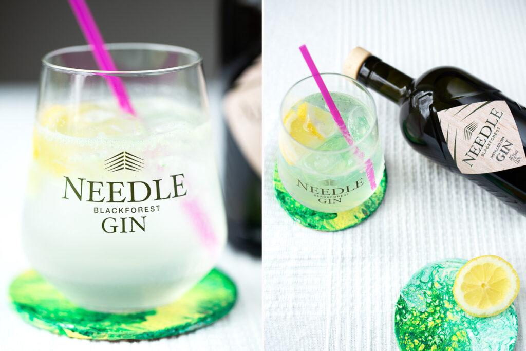Korkuntersetzer im Pouring Look mit Needle Gin