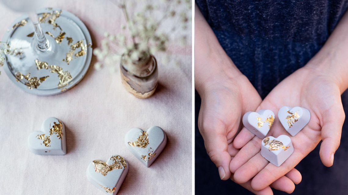 DIY Beton Herzen mit Blattgold – Tischdeko zur Hochzeit