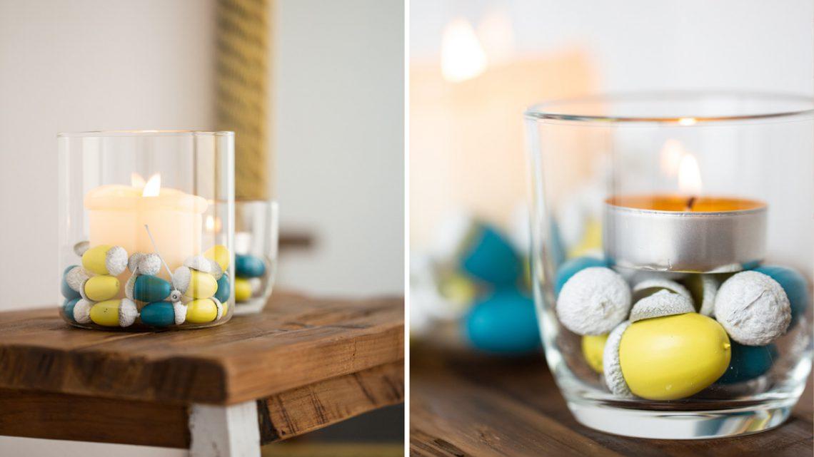 Einfache Herbstdeko selber machen – DIY Windlichter mit Eicheln