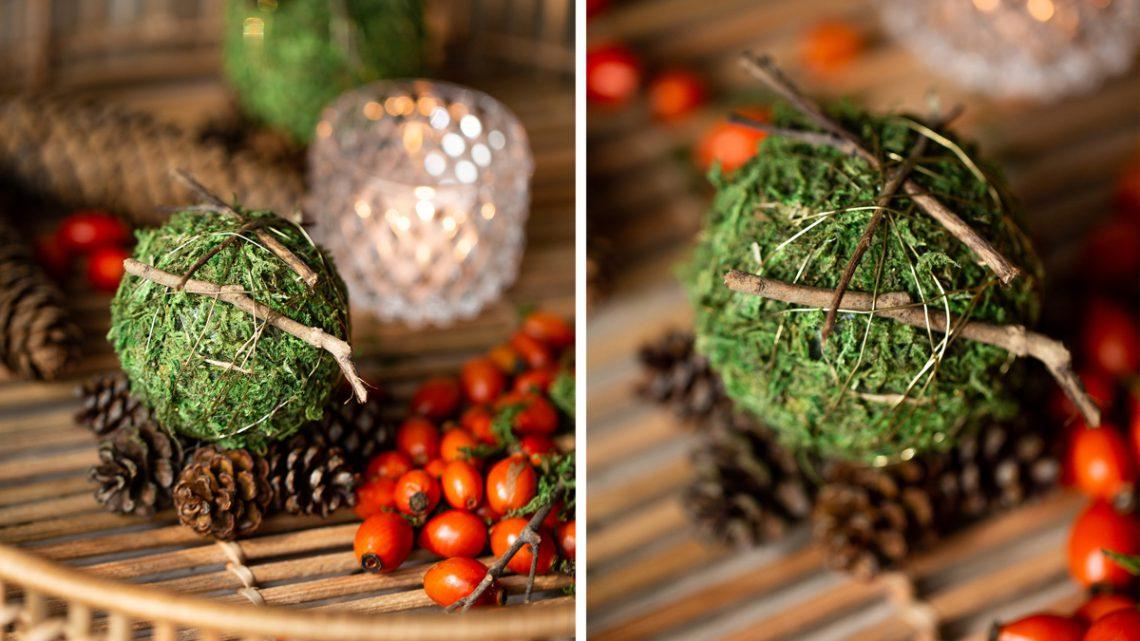 Herbstdeko aus Naturmaterialien basteln – DIY Tischdeko mit Moos