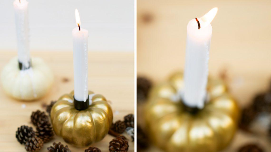 DIY Kürbis Kerzen selber machen – Herbstliche Tischdeko basteln