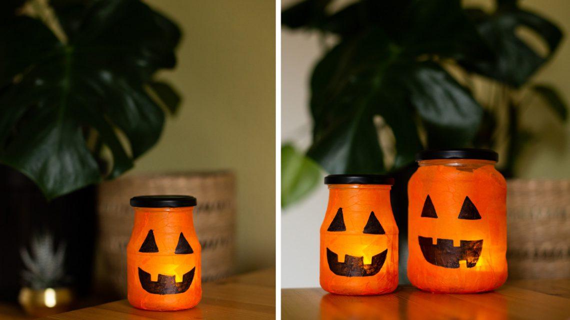 DIY Halloween Deko selber machen – Leuchtende Kürbis Lichter