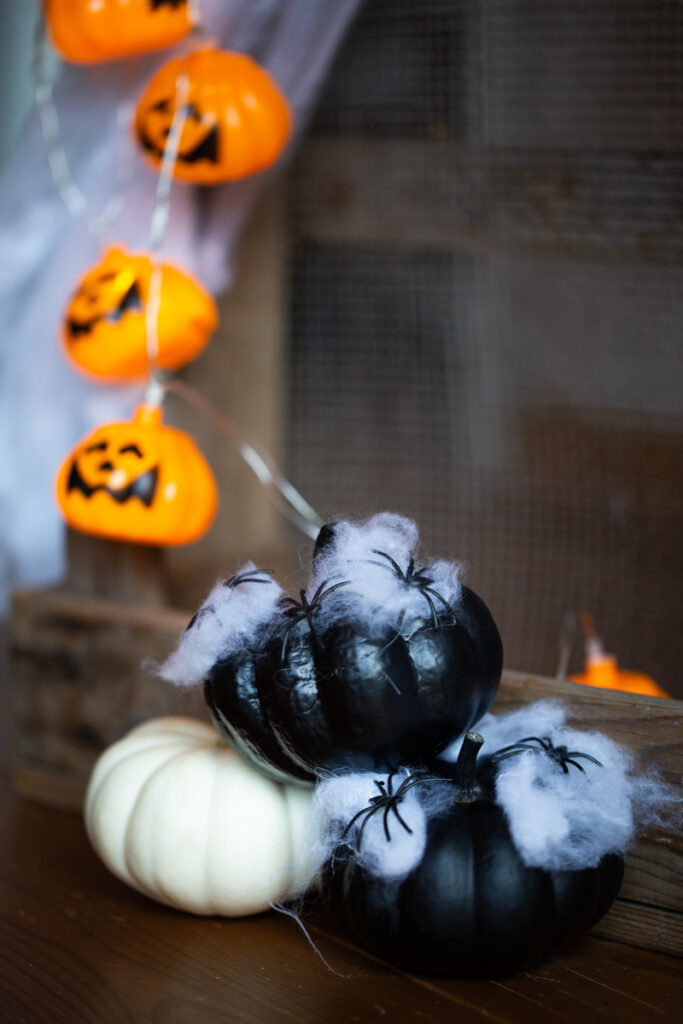 DIY Halloween Kürbis Dekoration mit Spinnen
