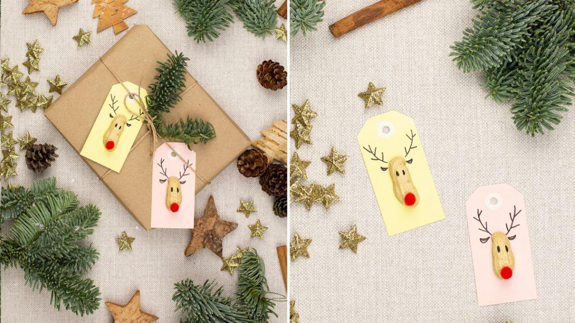 DIY Geschenk Anhänger basteln – Einfache Rudolph Anhänger mit Anleitung