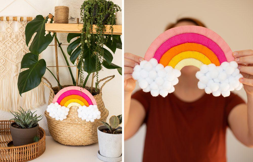 DIY Regenbogen mit Kindern basteln aus Wolle und Pappe