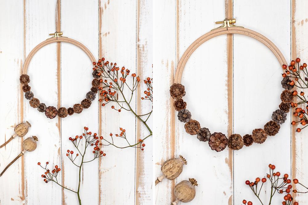 DIY Herbstkranz basteln - Blüten aus Zapfen am Stickrahmen