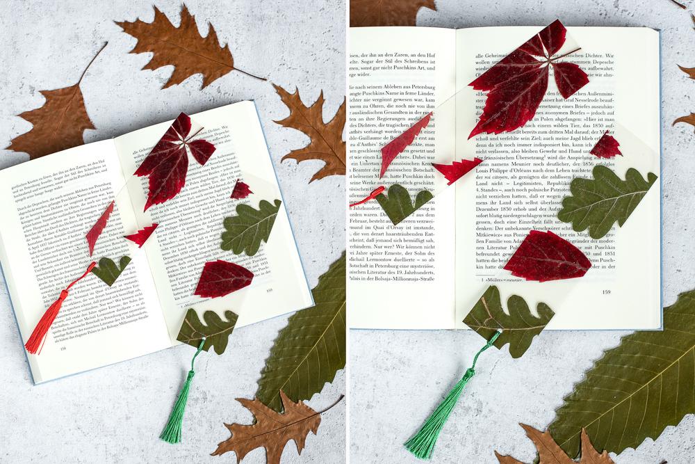 DIY Lesezeichen mit Herbstblätter basteln
