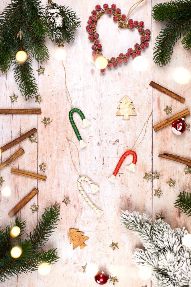 DIY Makramee Weihnachtsdeko basteln - Boho Zuckerstangen