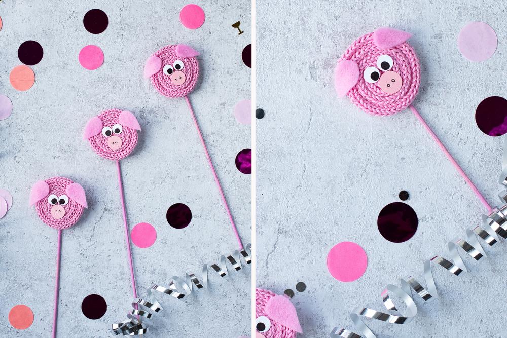 DIY Glücksschweine aus Wolle basteln