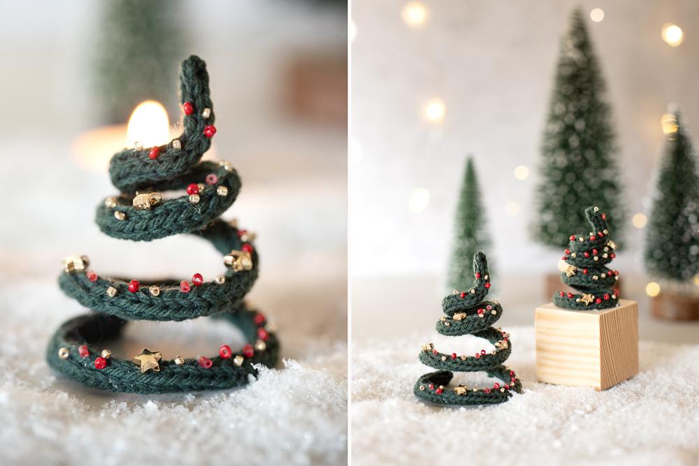 DIY Tannenbäume aus Wolle basteln - Gestrickte Weihnachtsdeko