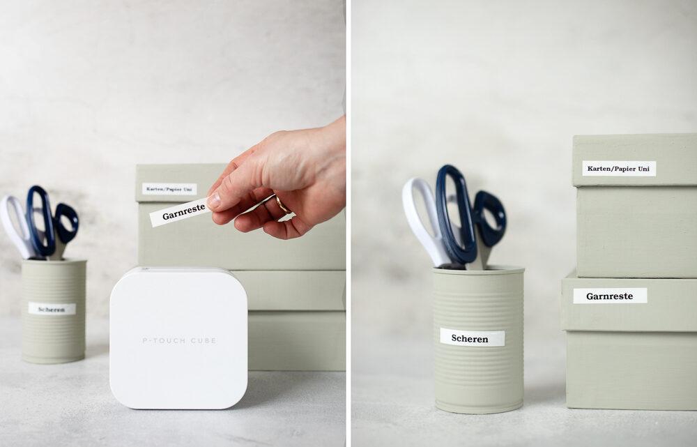 Upcycling mit Pappe: vom Schuhkarton zur Ordnungsbox mit dem P-touch Cube von Brother [Werbung]