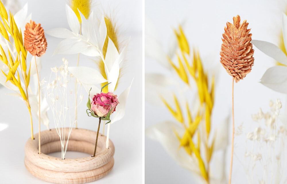 DIY Trockenblumenhalter aus Holzringen basteln
