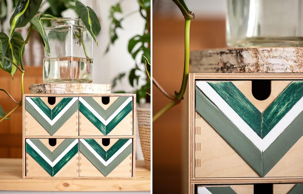 DIY IKEA Hack Moppe – Chevron Muster aus Holzstielen